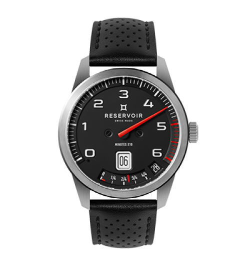 GT Tour - The GT Tour adopts the codes of the 'Classic' car race. The matte black dial and the orange minute hand are inspired by the contrast of these two colours on a racing car meter, allowing maximum legibility