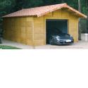 doizon - garages béton aspect bois - Garage 2 pentes tuiles en béton aspect bois. Une entrée pignon avec porte séctionnelle motorisée